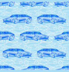 seamless pattern with blue cars vector image