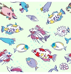 Seamless pattern with color fishes and bubbles vector image
