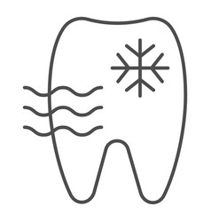 Sensitive tooth thin line icon tooth and vector