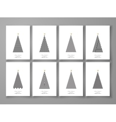 set christmas tree in line art03 vector image