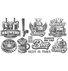 set monochrome patterns on theme beer vector image
