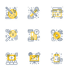 Set of 9 flat line business icons flat line vector