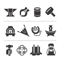 Set of blacksmithing icons vector image