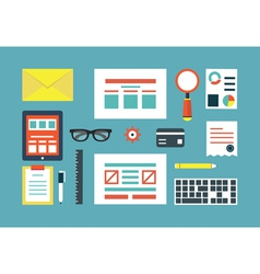Set of equipment for programing and design vector image