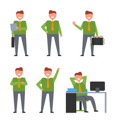 Set of icons depicting smiling businessman at work vector