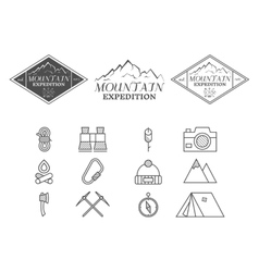 Set of monochrome mountain camp badge logo and vector image