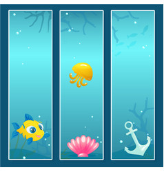 set of nautical banner templates with underwater vector image