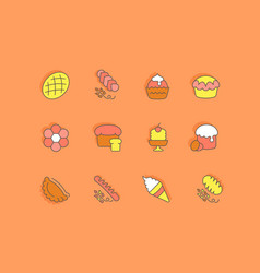 set simple line icons bakery vector image