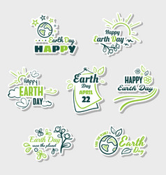 set stickers earth day vector image