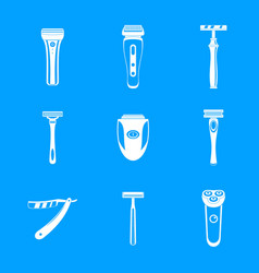 Shaver blade razor personal icons set simple vector