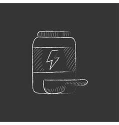 Sport nutrition container Drawn in chalk icon vector