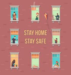 Stay home concept house facade with windows vector
