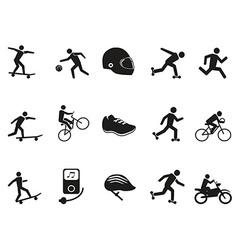 street sport biking skating skateboarding icons vector image