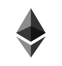 Symbol of digital crypto currency ethereum gray vector