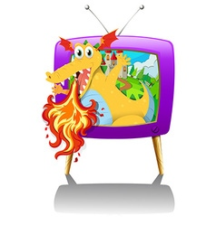 Television screen with dragon blowing fire vector image