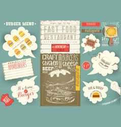 Template menu placemat for burger house vector