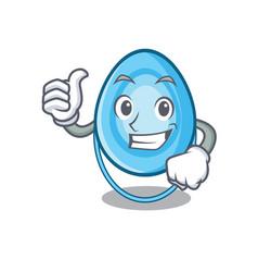 Thumbs up oxygen mask character cartoon vector