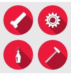 Tool icon set cogwheel hammer wrench key bolt vector