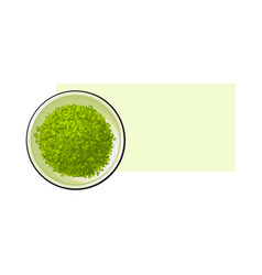 Top view drawing of matcha green tea powder in vector
