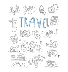 Travel camping icons in Doodle style great set vector image