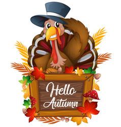 turkey on autumn sign vector image