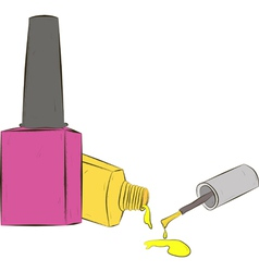 two bottle of nail polish on white background vector image