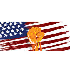 usa america independence hand fist in with flag vector image