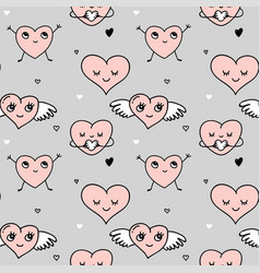 valentines day background and seamless pattern vector image