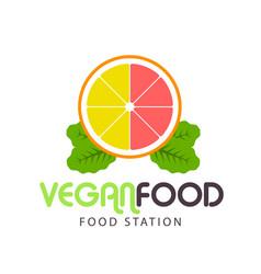 vegan food station lemon background image vector image
