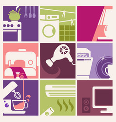 vintage home appliances icons vector image