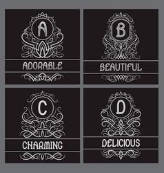 vintage monograms set for label design a b c d vector image