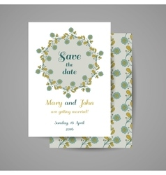Wedding Invitation Blue Flowers vector image