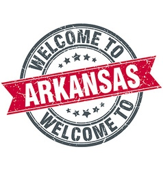 welcome to Arkansas red round vintage stamp vector image