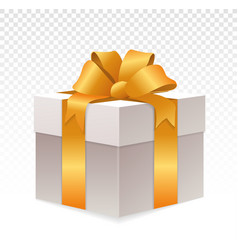 white giftbox with golden wrapping on transparent vector image
