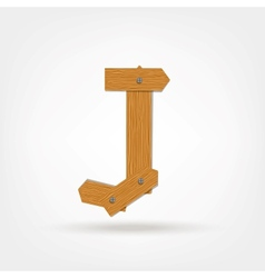 Wooden Boards Letter J vector image