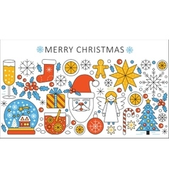 elegant color flat line Christmas and Happy vector image