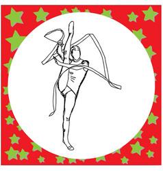 gymnast with ribbon hand drawn vector image