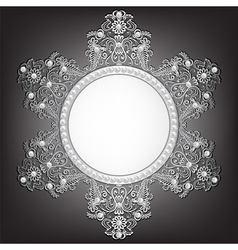 Jewelry silver frame with pearls on black vector image vector image