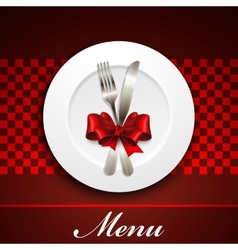 restaurant menu design with plate and silverware vector image vector image