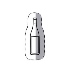 sticker black contour of glass bottle vector image