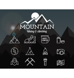 Summer mountain camp badge logo template and vector image vector image