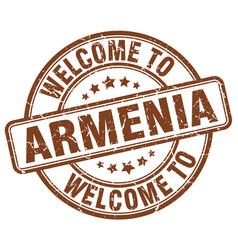welcome to armenia brown round vintage stamp vector image vector image