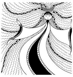 woman moon graphic arts zentangl vector image vector image