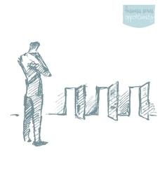 Businessman looking doors decision concept vector image