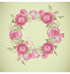 Floral frame with roses birds and butterflies vector image vector image