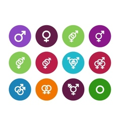 Gender identities circle icons on white background vector image vector image