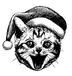 little cat with christmas hat vector image vector image