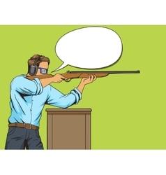 Man with rifle at shooting range pop art vector image