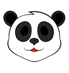 panda bear head icon cartoon vector image vector image