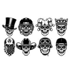 set of skull characters on white background vector image vector image